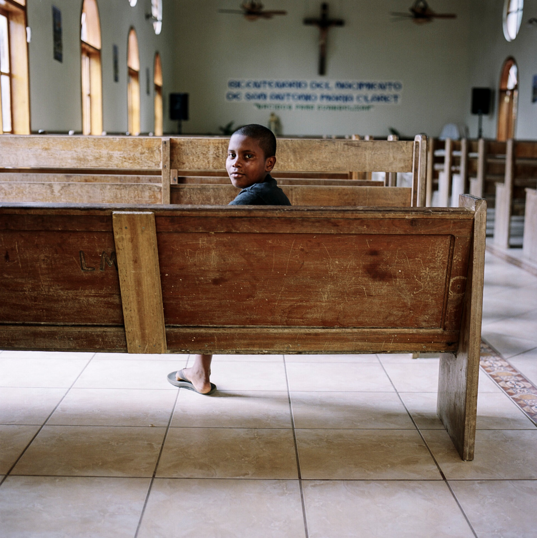 Boy in church - Roatan